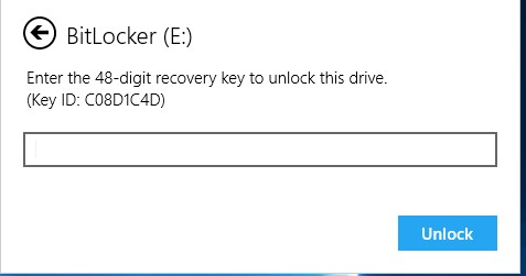 bitlocker enter 48 digit recovery key