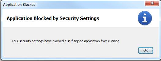 Java SE: Application Blocked by Security Settings