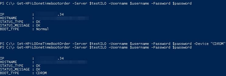 hp server manage boot order with powershell