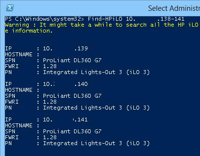 Powershell - network scan hp ilo cards