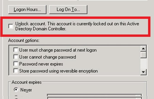 Unlock account. This account is currently locked out on this Active Directory Domain Controller