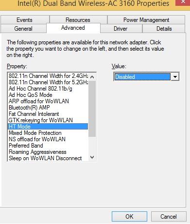 wifi disable Hight Throughput mode
