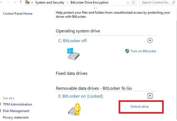 windows 10 bitlocker unlock the protected drive