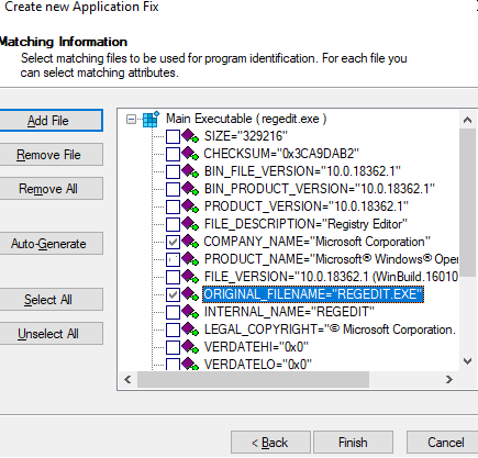 executable file Matching Information