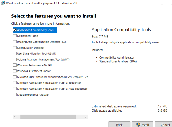 install Application Compatibility Tools on windows 10