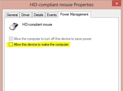 power managment tab: Allow this device to wake the computer