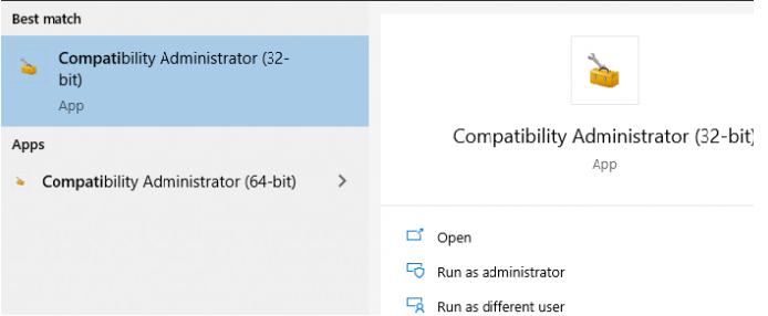 run Application Compatibility Administrator - 32-bit on windows 10