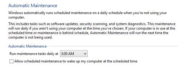 windows8: automatic maintence