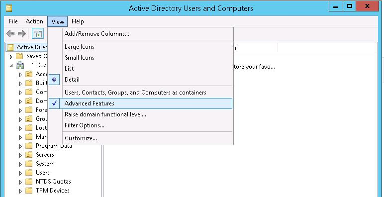 Active Directory Users and Computers Show Advanced Features