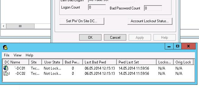 LockoutStatus in aduc console