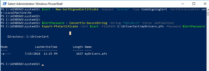 New-SelfSignedCertificate create cert using powershell