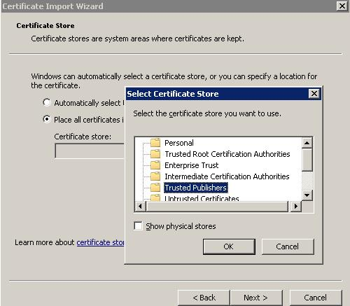 add certificate to truster publishers store
