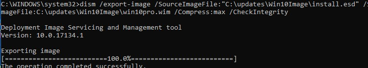 dism /export-image convert install.esd to wim
