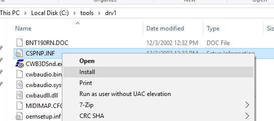installing driver from the inf file