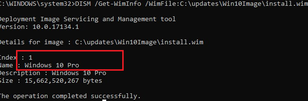 install.wim with windows 10 pro image