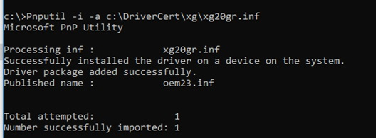 pnputil install selfsigned device driver