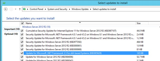 remove NET 3.5 Framework patches installed via Windows Update