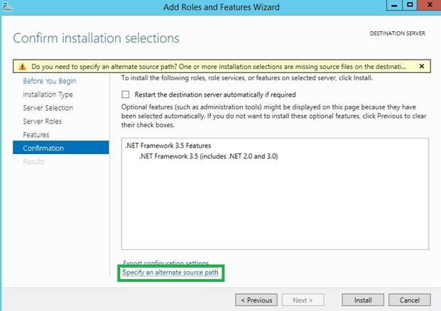 specify alternative path .net installation