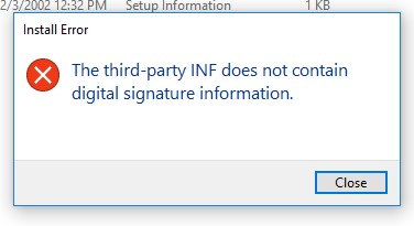 The third-party INF does not contain digital signature information.