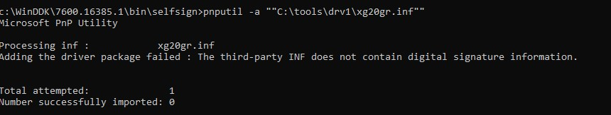 Adding the driver package failed: The third-party INF does not contain digital signature information.
