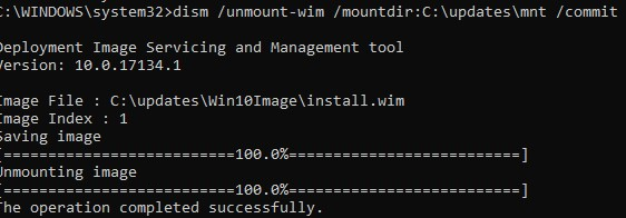 unmount wim image with commit changes