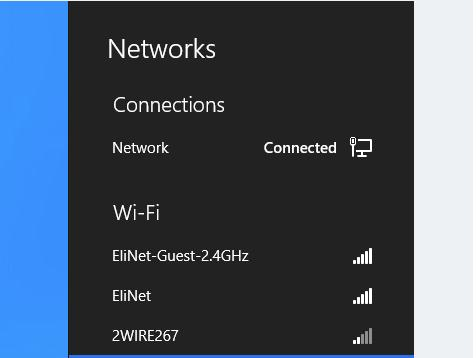 list of wifi networks in Windows 8
