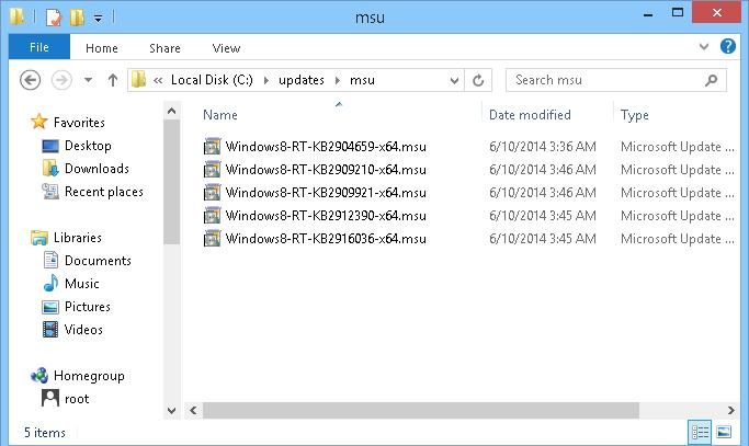 windows 8 updates in *.msu format