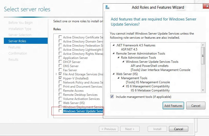 install wsus role on windows 2012 server