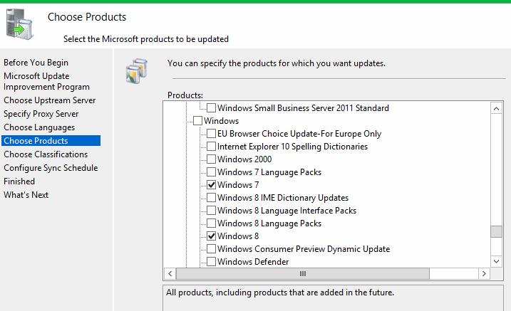 Specify products which you want update