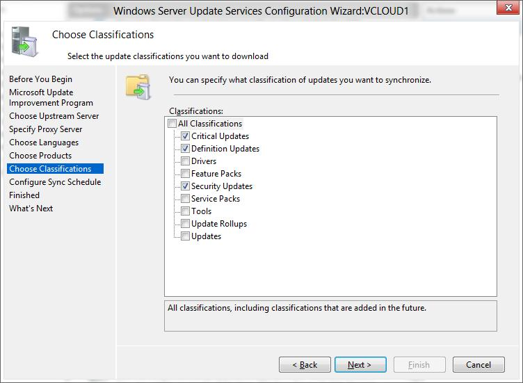WSUS  updates classifications