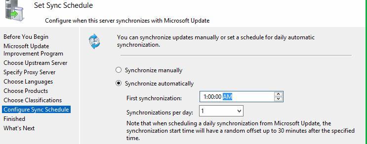 wsus synchronization schedule