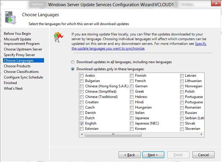 select wsus languages