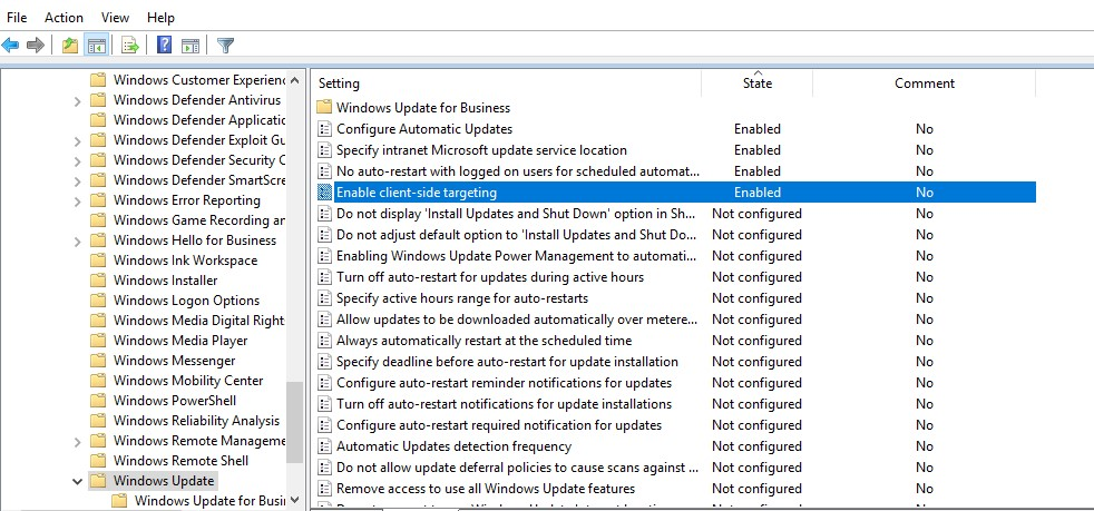 Windows Update Settings for servers using GPO