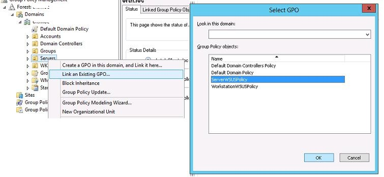 linking wsus gpo to active directory ou