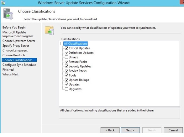 wsus update classifications