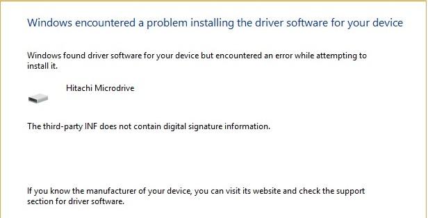 Hitachi Microdrive inf ne contient pas de signature numérique