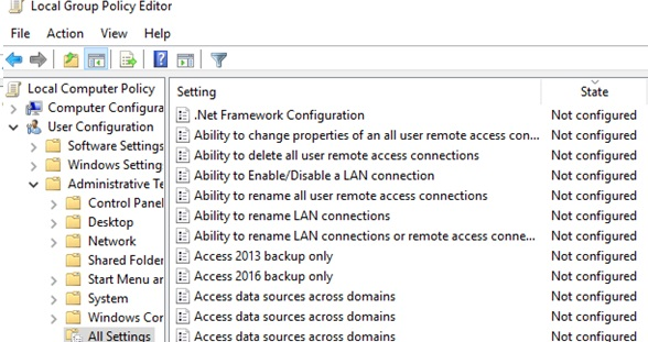 all gpo settings in default state: not configured