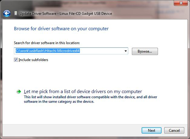 browse path to hitachi microdrive driver