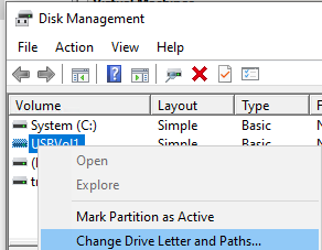 disk management set drive letter