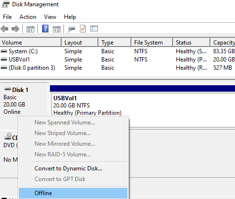 disk management - set usb drive offline on hyper-v