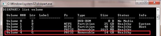diskpart check lecteur amovible