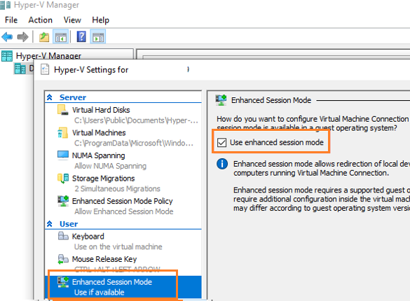 enable Enhanced Session Mode on hyper-v host