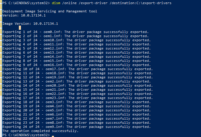 export driver using dism