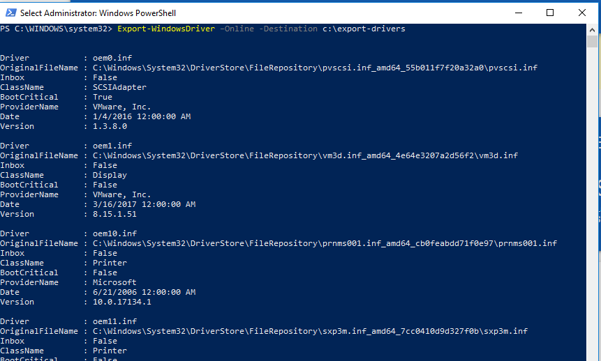 Export-WindowsDriver - powershell cmdlet