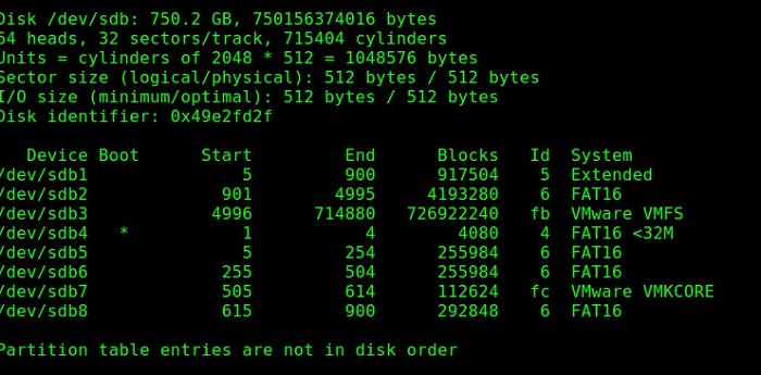 fdisk show esxi partitions in ubuntu