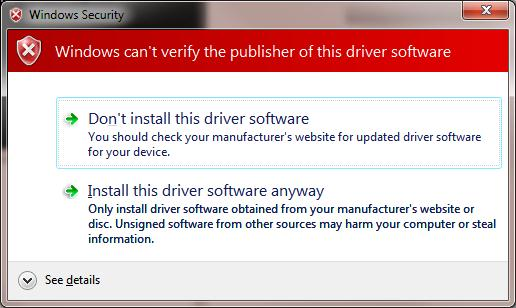 ignore driver virify warning