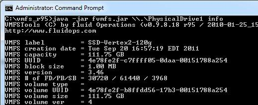java -jar fvmfs.jar \\.\PhysicalDrive1 info