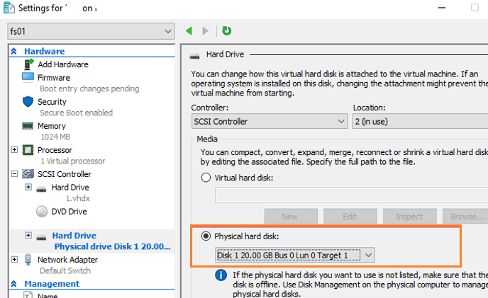 Mount USB Drive into a VM from Hyper-V host