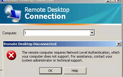The remote computer requires Network Level Authentication, which your computer does not support.