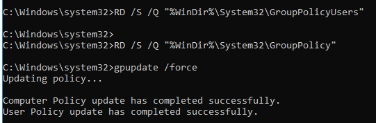 reset local gpo setting with cmd
